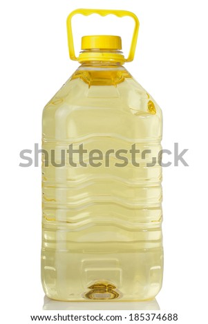 Plastic bottle of cooking oil with handle on white background  - stock photo