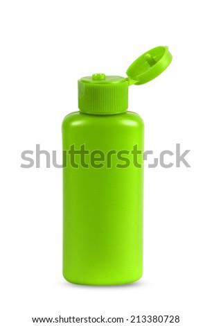 Plastic Bottle Of Gel, Liquid Soap, Lotion, Cream, Shampoo on white background - stock photo