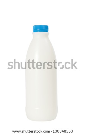 Plastic bottle of milk on a white background. Clipping path included.