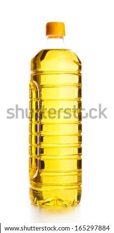 Plastic bottle of sunflower oil. Isolated over white background. - stock photo