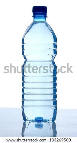 Plastic bottle of water, isolated on white background - stock photo