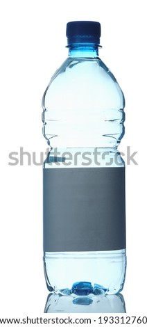 Plastic bottle of water, isolated on white background