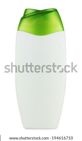 plastic bottle shampoo, isolated on white background - stock photo