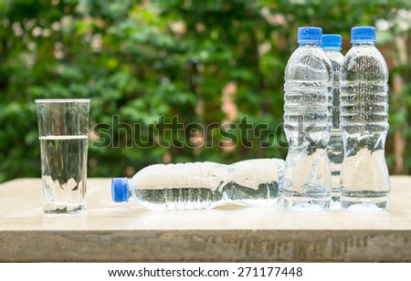 plastic bottle the  fresh drink water - stock photo