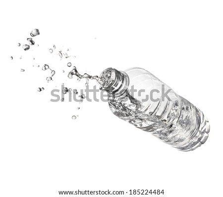Plastic bottle Water flying!  /Bottle water thrown at increasing splash - stock photo