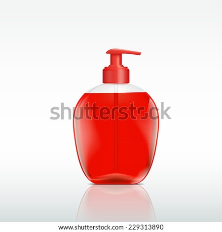plastic bottle with a dispenser for liquid soap