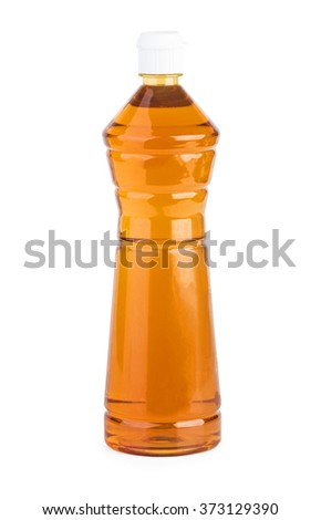 Plastic bottle with apple vinegar  isolated on the white background - stock photo