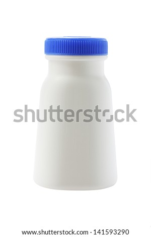 Plastic Bottle With Blue Cap On White Background