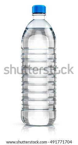 Plastic bottle with clear purified drink carbonated water isolated on white background with reflection effect