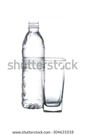 plastic bottle with glass isolated on white background