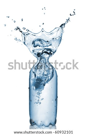 plastic bottle with water splash isolated on white - stock photo