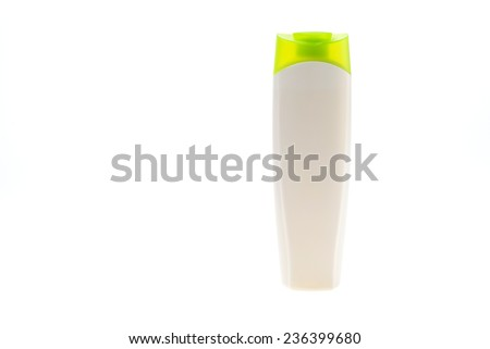 Plastic bottles body care and beauty products isolated on white background - stock photo