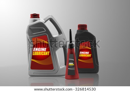 Plastic bottles from automobile oil isolated on a white background - stock photo