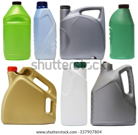 Plastic bottles from automobile oils isolated on white background - stock photo
