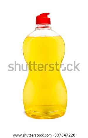Plastic bottles of cleaning products - stock photo
