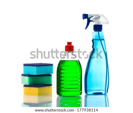 Plastic bottles of cleaning products and sponges . Isolated on white background - stock photo