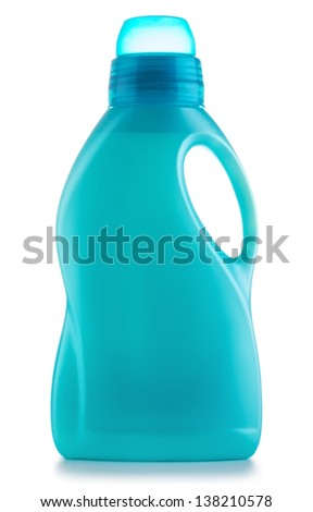 plastic bottles of cleaning products, isolated on white - stock photo