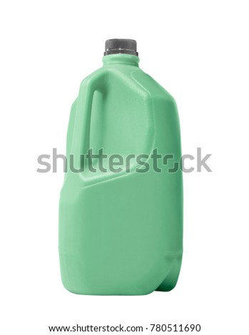 plastic bottles of cleaning products isolated on white background