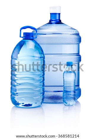 Plastic bottles of drink water isolated on white background - stock photo