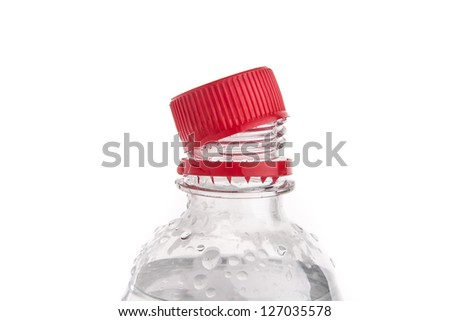 Plastic bottles of drinking water isolated on white