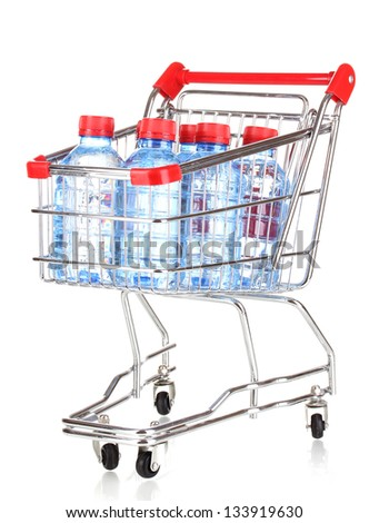 plastic bottles of water in trolley isolated on white
