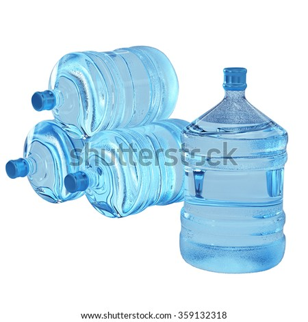 Plastic bottles of water isolated on white background - stock photo