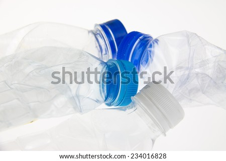 Plastic bottles on a white background - stock photo
