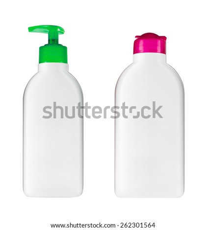 Plastic bottles with soap and shampoo - stock photo