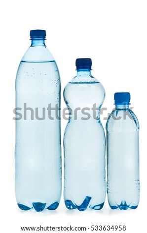 Plastic bottles with water isolated on white background