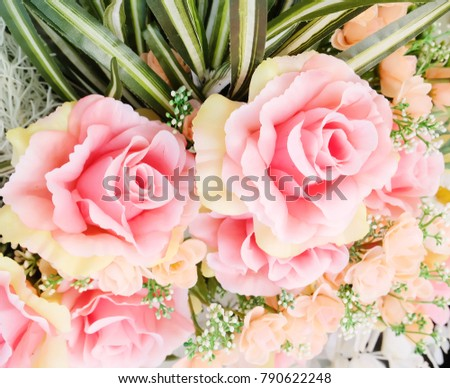 Plastic bouquet of rose with soft light fade tone, smooth and romantic feeling