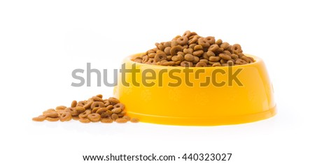 plastic bowl full with dog food isolated on white background