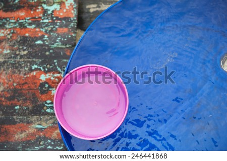 plastic bowl  put clean water - stock photo