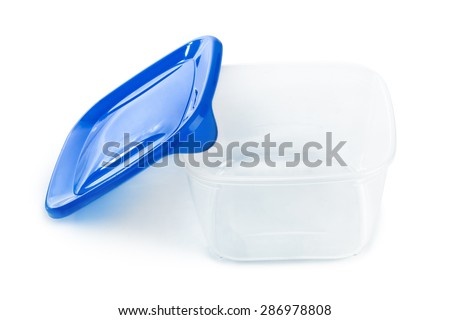 Plastic box isolated on white background - stock photo