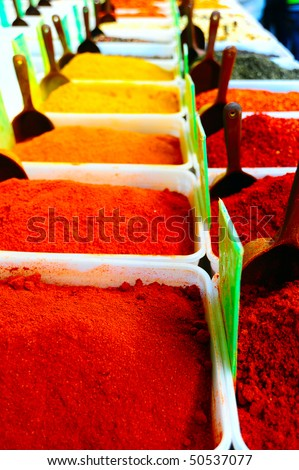 Plastic boxes with a variety of spices and spoons - stock photo