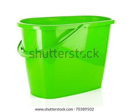Plastic bucket isolated on white