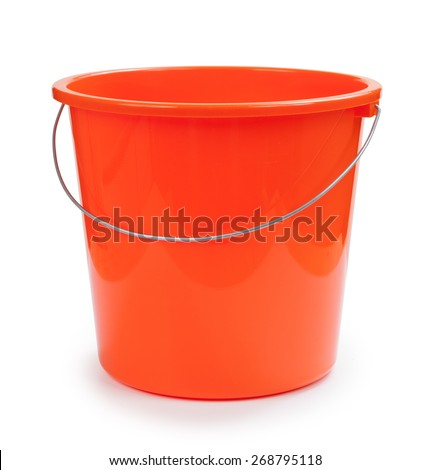 Plastic bucket on a white background - stock photo
