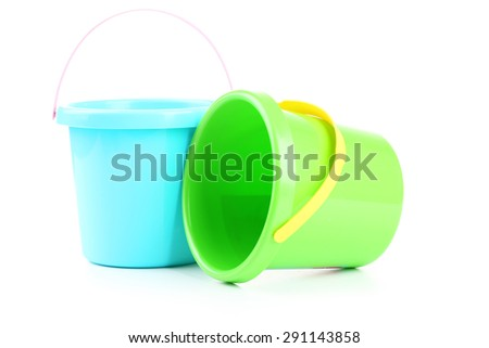 Plastic buckets isolated on white