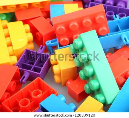 Plastic building blocks. - stock photo