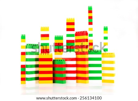 Plastic building blocks - stock photo
