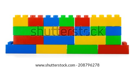 Plastic building blocks, isolated on white