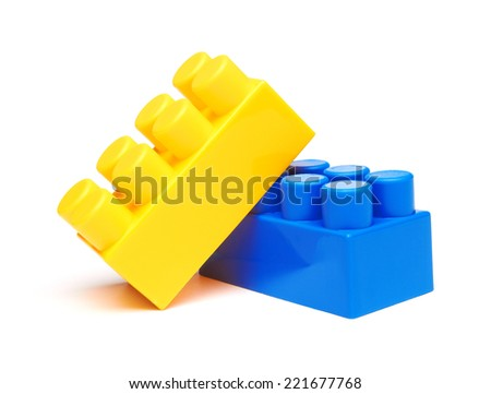 Plastic building blocks, isolated on white background - stock photo