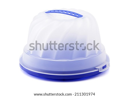 Plastic Cake & Food Storage Container isolated on white Background - stock photo