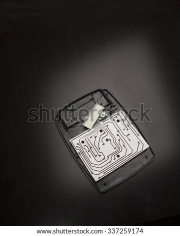 Plastic calculator and board/Electronic Parts and LCD/Opened plastic circuit board