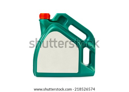 Plastic canister for motor oil isolated on white background - stock photo