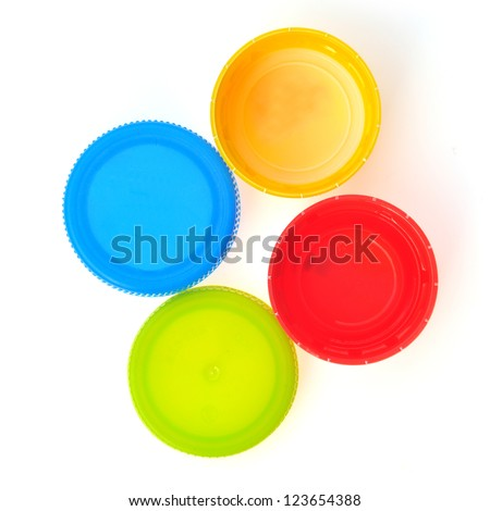 Plastic Caps of the bottle isolated - stock photo