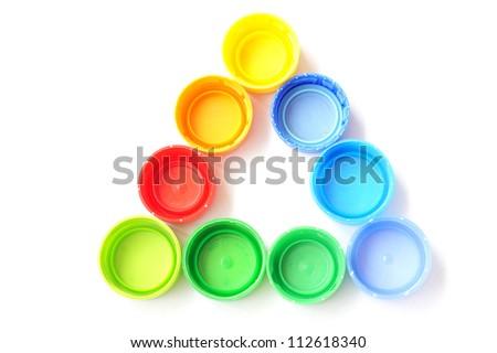 Plastic Caps of the bottle - triangle shape - stock photo