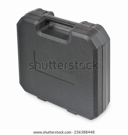 Plastic case for household tools on a white background