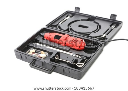 Plastic case with multiple head screwdriver. Isolated on a white background.