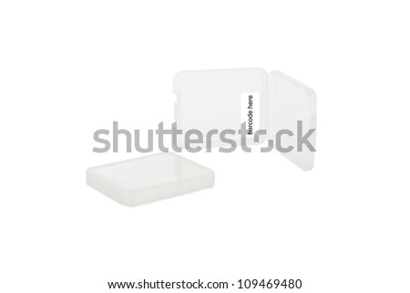 Plastic CF card case with space for barcode, isolated on white - stock photo