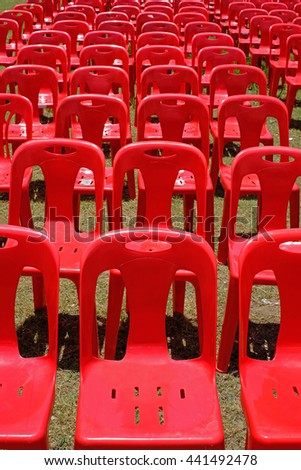 Plastic chair , Chair make by plastic , Red plastic chair. - stock photo